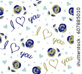 vector hearts and love seamless ...   Shutterstock .eps vector #607885010
