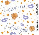 valentine's day vector seamless ...   Shutterstock .eps vector #607885028