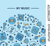 music themed  pattern... | Shutterstock .eps vector #607888709