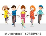 children riding bicycle... | Shutterstock .eps vector #607889648