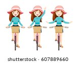 Young Woman Riding Bicycle Set...
