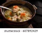 chicken rice soup | Shutterstock . vector #607892429