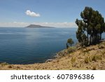 amazing view of titicaca lake | Shutterstock . vector #607896386