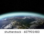 view of planet earth from space ... | Shutterstock . vector #607901483