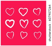 set of hand drawn hearts in... | Shutterstock .eps vector #607907264