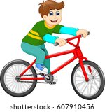 funny boy cartoon riding bicycle | Shutterstock .eps vector #607910456