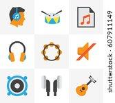 audio flat icons set....   Shutterstock .eps vector #607911149