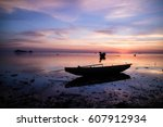 sunset and boat  | Shutterstock . vector #607912934