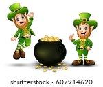 vector illustration of happy... | Shutterstock .eps vector #607914620