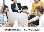 group of businesspersons having ... | Shutterstock . vector #607920830