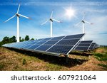 photo collage of solar panels... | Shutterstock . vector #607921064