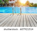swimming pool with stair and... | Shutterstock . vector #607921514