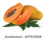 Papaya Fruits Isolated On Whit...