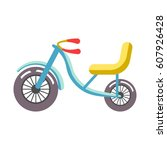 blue children bicycle with... | Shutterstock .eps vector #607926428