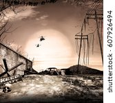 post apocalyptic scenery with... | Shutterstock . vector #607926494