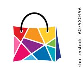 colors shopping logo template | Shutterstock .eps vector #607930496