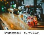 Alcoholic Cocktail Row On Bar...