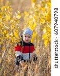 boy  autumn  joy | Shutterstock . vector #607940798