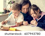 family spend time happiness... | Shutterstock . vector #607943780