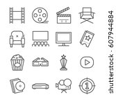 films and movies icon set | Shutterstock .eps vector #607944884