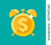 gold alarm clock with dollar... | Shutterstock .eps vector #607945160