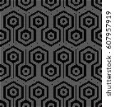 halftone round black seamless... | Shutterstock .eps vector #607957919