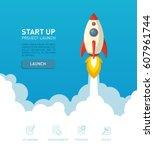 flat style rocket ship...   Shutterstock .eps vector #607961744