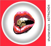 icon red lips with bullet. ... | Shutterstock .eps vector #607962404