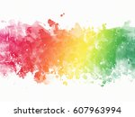 watercolor rainbow border | Shutterstock . vector #607963994