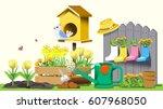 small garden in back yard.... | Shutterstock .eps vector #607968050
