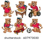 cartoon character set of cute... | Shutterstock .eps vector #607973030