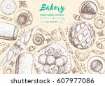 bakery top view frame.... | Shutterstock .eps vector #607977086