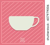 tea and coffe cup vector icon.... | Shutterstock .eps vector #607979006