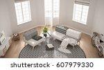 scandinavian minimalist living... | Shutterstock . vector #607979330