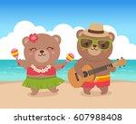 cute hawaiian bears couple... | Shutterstock .eps vector #607988408