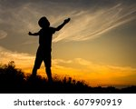 Silhouette Of Happy Kid And The ...