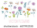 vector flowers | Shutterstock .eps vector #607992533