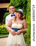 newlyweds in the tropics   Shutterstock . vector #608004719