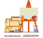 workshop room with easel and... | Shutterstock .eps vector #608005094