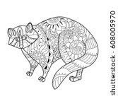 raccoon coloring book vector... | Shutterstock .eps vector #608005970