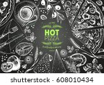 pizza top view frame. italian... | Shutterstock .eps vector #608010434