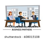 businesss and office concept  ... | Shutterstock .eps vector #608015108