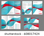 set of color abstract brochure... | Shutterstock .eps vector #608017424