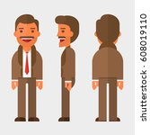 male person in different poses... | Shutterstock .eps vector #608019110