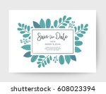 wedding floral card  wedding... | Shutterstock .eps vector #608023394