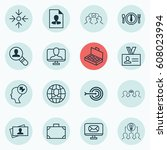 set of 16 business management... | Shutterstock .eps vector #608023994