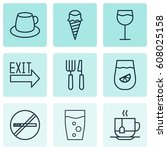 set of 9 food icons. includes... | Shutterstock .eps vector #608025158