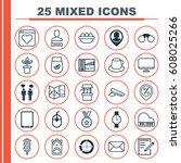 set of 25 universal editable... | Shutterstock .eps vector #608025266