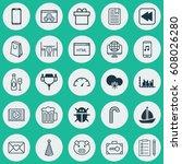 set of 25 universal editable... | Shutterstock .eps vector #608026280
