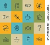 set of 16 cafe icons. includes... | Shutterstock .eps vector #608026868